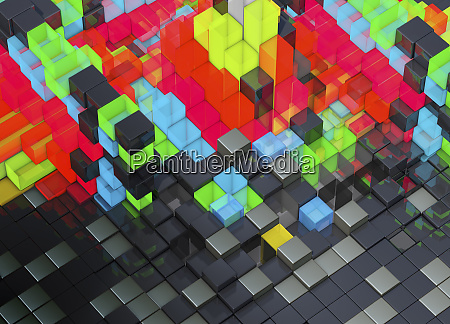abstract bright multicolored blocks protruding from