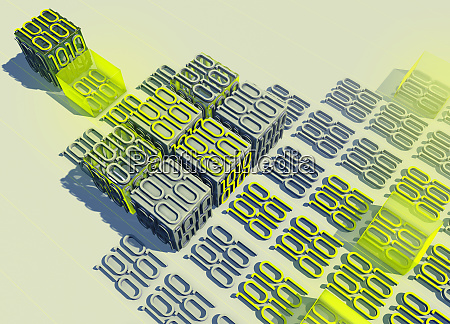 blocks of binary code data arranged