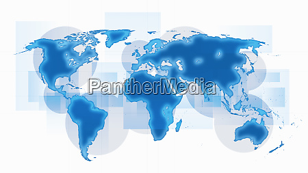 world map with blue continents on