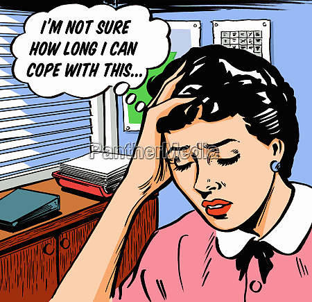 frustrated businesswoman worrying in thought bubble