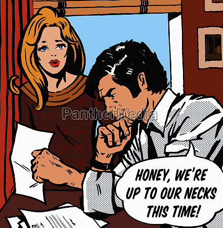worried couple with speech bubble talking