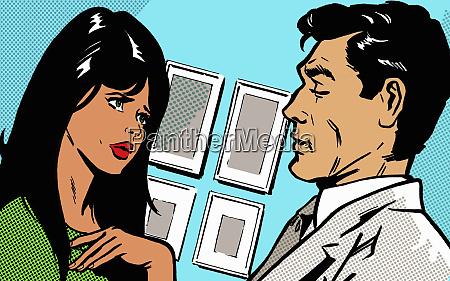 anxious woman and serious man face