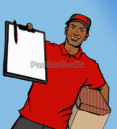 cheerful delivery man holding out clipboard