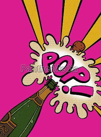champagne cork exploding with pop sound