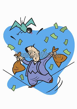 businessman balancing on tightrope losing money