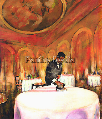waiter preparing restaurant