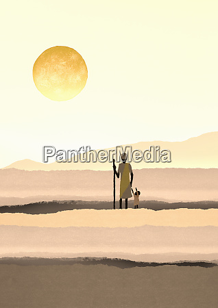 mother and daughter standing in arid