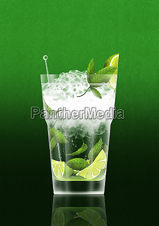 cold cocktail with lime and mint