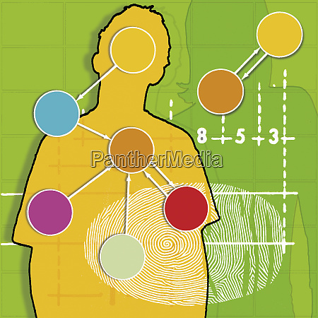 genes and fingerprint over silhouette of