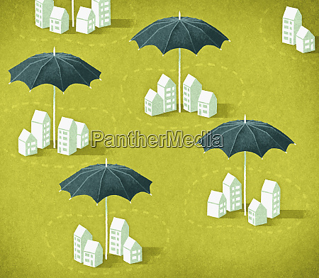 umbrellas protecting groups of houses