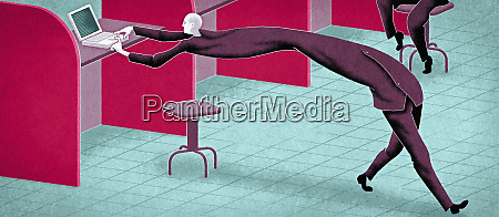 businessman being stretched between typing and