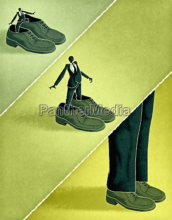 businessmen wearing big shoes