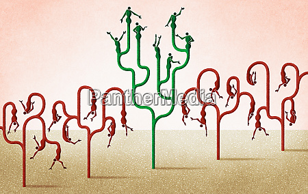 people growing on branches