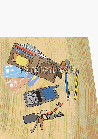 wallet credit cards coins cell phone