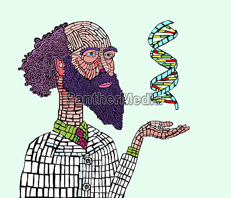scientist studying dna double helix