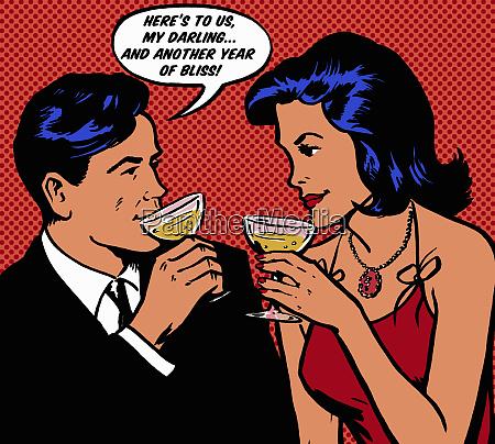 retro couple celebrating anniversary with champagne