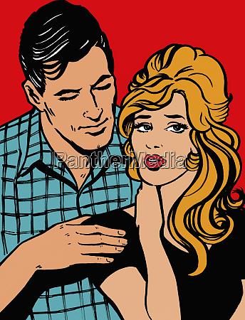 affectionate boyfriend comforting stressed girlfriend