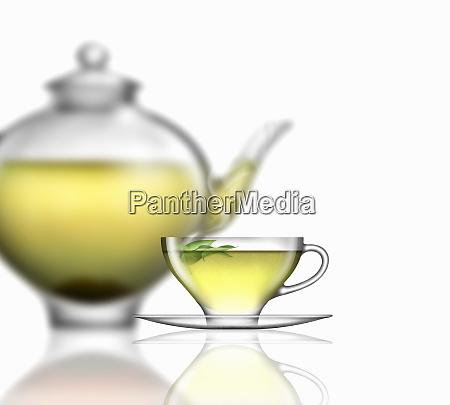 green tea glass teacup saucer and