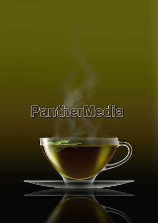 green tea in glass teacup and
