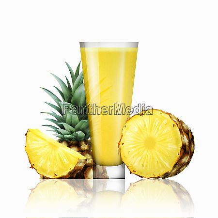 fresh pineapple and glass of juice