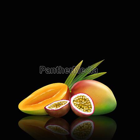 fresh mangoes and passionfruit