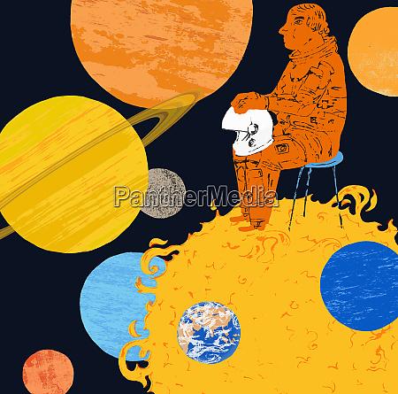 astronaut sitting on the sun looking