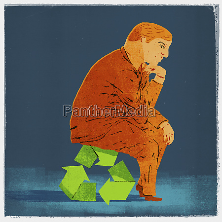 businessman as the thinker sitting on