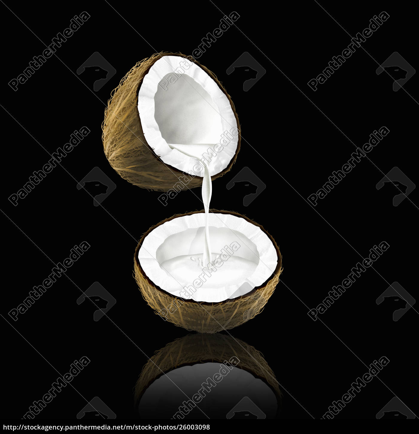 coconut, milk, pouring, from, one, coconut - 26003098