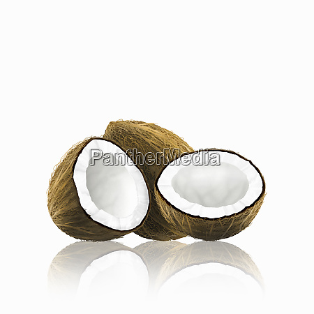 whole, and, halved, coconut - 26003092