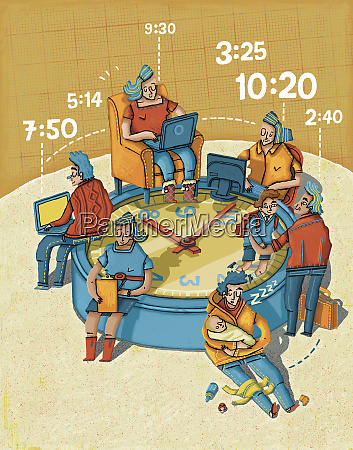 telecommuters working from home around large