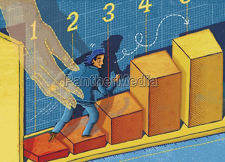 businessman climbing rising bar chart with
