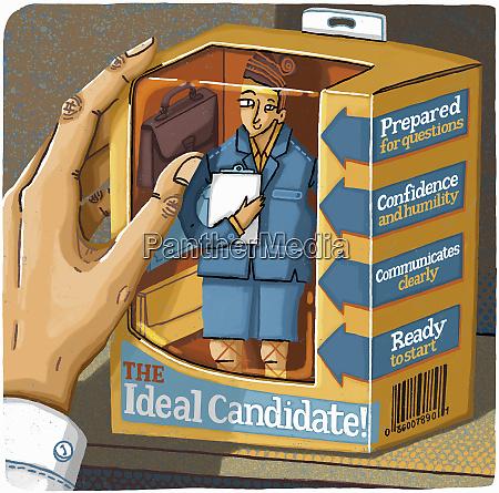 hand choosing ideal job candidate ready