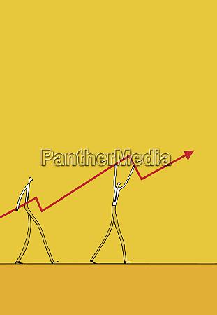 businessmen carrying ascending arrow