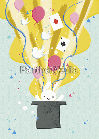 rabbit balloons and cards coming from
