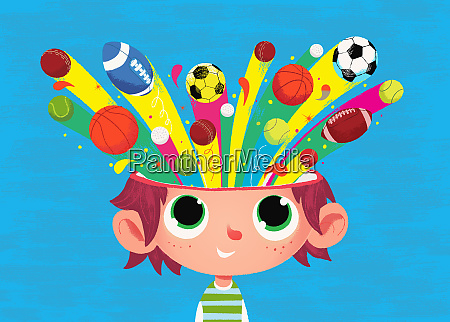 boy with sports balls coming from