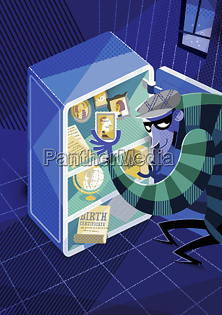 thief stealing personal belongings from safe