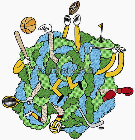 men tangled in sports equipment