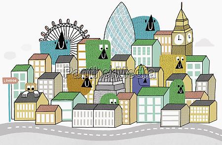 creatures peering over london rooftops