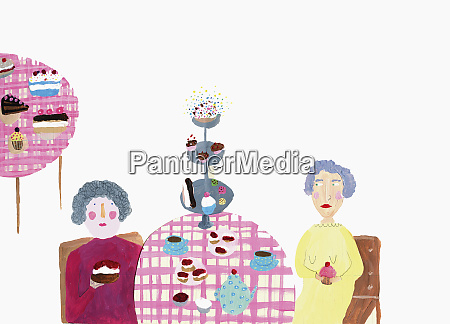 woman at table with tea and