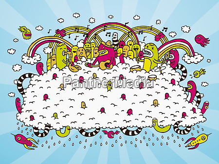 creatures playing music on cloud with