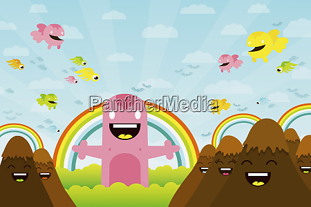 cute creatures among anthropomorphic mountains and