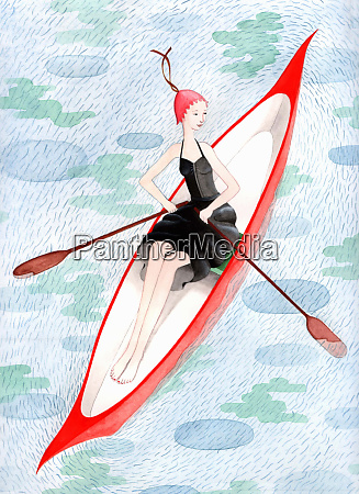 well dressed woman in rowboat