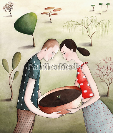 couple carrying potted seedling outdoors