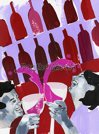 laughing couple drinking red wine together