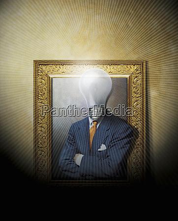 businessman in frame with lightbulb for
