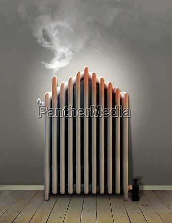 overheating radiator with steam in shape
