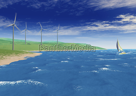 sailboat in ocean wind turbines turning