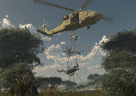 soldiers descending from helicopter