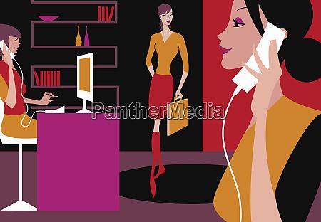 busy businesswomen working in office