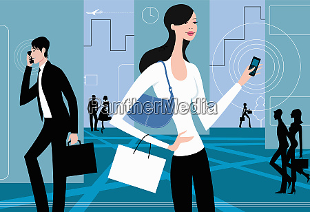 busy people with cell phones